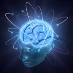 Electrons revolve around the brain. Concept of idea.